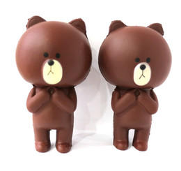 Wholesale Doll Line Brown - New Arrival Jumbo Squishy line brown bear Kawaii Cute Animal Slow Rising Sweet Scented Vent Charms Bread Cake Kid Toy Doll Gift Fun