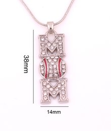 Wholesale Free Hot Mom - Mother Gift Free shipping 10pcs a lot Sell like hot cakes sport mom crystal Baseball necklace pendant clear rhinestones sports jewelry