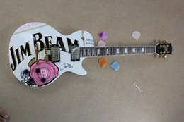 Wholesale Flower Top Guitars - Free shipping JIM BEAM model with pink rose flower decal on body top white color OEM Standard electric Guitar