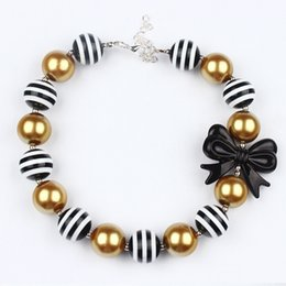 Wholesale Princess Chunky Beads - sweet girl beautiful bow-knot candy Necklace 2016 Kids Girls Gold &black Beads Bubblegum Necklace Christmas Toddler chunky Princess jewelry