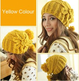 Wholesale Earflap Hat Balls - Wholesale-Yellow Beanie Hat Flower Ball Handmade Crochet Hats Ballin Beanie Cap Adjustable Earflap Beanie Crochet Pattern CP041
