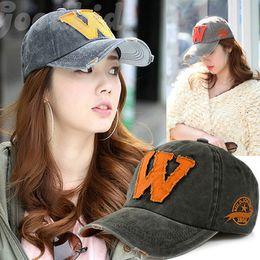 Wholesale Girls Snapbacks Hats - 2018 hot new Korean tide baseball cap summer sun hat female W letter Hat old girls sports hat peaked caps hots free shoping