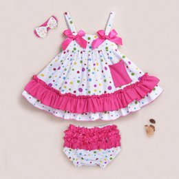Wholesale Infant Dress Ruffle Pants - baby girls Chevron sets girl dress + lace pants shorts suit infant romper children outfits dress kids ruffled bloomers 39colors 6sets lot
