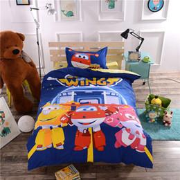 Wholesale Babys Bedding - 100% Cotton Blue Cartoon Super Wings Bedlinens Single Twin Sizes 3d Quilt Cover Boy Babys Airplane Bedding Set Pillowcases 3 4pc