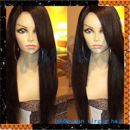 Wholesale Black Full Fashioned Stockings - Fashion unprocessed 100% virgin human hair glueless full lace human hair wigs for black women straight in stock