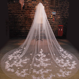 net flowers Coupons - New Arrive Bride Veil Long Length Elegant Lace Beaded Long Wedding Veil Fashion Long Wedding Veil