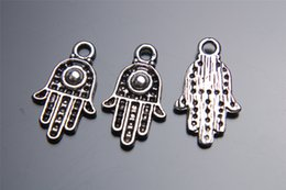 Wholesale Silver Bracelet Hand Pendant - Top Sale 200pieces 20mm Hand Lover Charms Spacer Beads connector Pendant 7222 925 Tibet Silver DIY Jewelry Beads Europe Bracelet Necklace