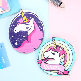 Wholesale Round Peach - artoon unicorn leather purse for women zipper round coin purse animal horse mini clutch wallet heart earphone pouch
