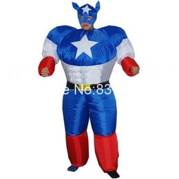 Wholesale Inflatable Superman - Wholesale-Free shipping Inflatable Superman Cartoon Apparel + hat Blower mascot Costume Halloween party adults Performance costume