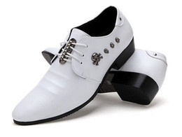 Wholesale Groom Wedding Shoes White - Free shipping new styling 2017 white shoes pu leather lace-up shoes dress shoes men's casual shoes groom wedding shoes