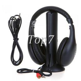 Wholesale Usb Pc Headset - Black 5 in 1 Wireless Cordless Headphone Headset Earphone for PC TV Radio Wireless Headphone Gaming Headphone Eletronic Hot