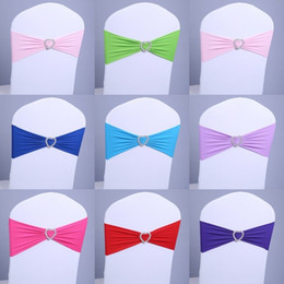 Wholesale Chairs Covers Wedding Sashes Bow - 100 pcs Free Shipping Spandex Lycra Chair Sashes Elastic Satin Chair Bands with Buckle for Wedding Chair Cover Sashes Bows Wholesale