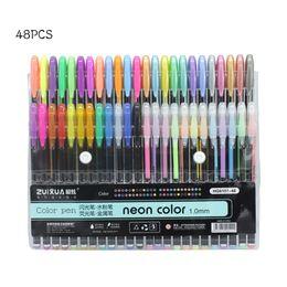 Wholesale Neon Pens - 24 36 48 Colors 1.0mm Gel Pens Set Metallic Pastel Neon Glitter Sketch Drawing Color Pen Manga Markers School Stationery