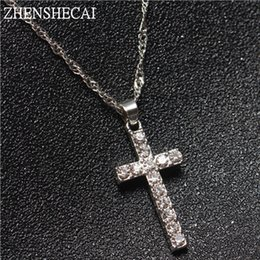 Wholesale Silver Cross Pendants For Women - Collier Femme New Fashion Silver Color Cross Necklaces & Pendants Collares for Women men Mujer Accessories Jewelry x307