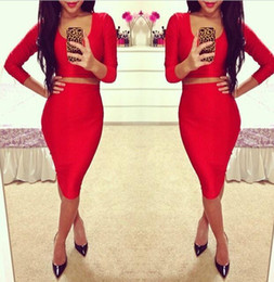 Wholesale Kimono Sleeve Top Red - 2016 Fashion Novelty Bodycon High Waist Dress Set T6259 Sexy Womens 2 Piece Long Sleeve Short Crop Top and Midi Pencil Skirt Clothing Set