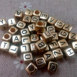 Wholesale alphabet letter cube acrylic beads - 1000 pcs gold with black Alphabet Mixed Letters Cube Beads 6mm good for baby DIY craft