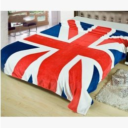 Wholesale Queen Flag - New Union Jack British UK Flag Blanket US Flag Blankets Plush Fleece Blanket Bed Throw on The Bed Sofa Car Queen Size 150x200cm