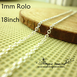 "Wholesale Wholesale Sterling Silver Chains Bulk - Wholesale-LOSE MONEY CHAINS Bulk 18"" 1mm Sterling Silver Plated Thin Rolo Chain 925 Lobster Clasp 50 pcs lot Jewelry Findings Wholesale"