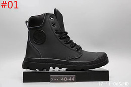 Wholesale Palladium Shoes Men - Comfortable Palladium Style Shoes For Men PU Leather Lace Up Flats Heels Waterproof Black Military Ankle Martin Brand Boots size 40-44