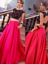 Wholesale Satin Dressing Gowns Women China - Black And Fuchsia Two Pieces Prom Dresses Jewel Lace Open Back Floor Length Long Formal Evening Party Gown Wear Women Dress China 2018