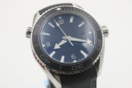 Wholesale Planet Ocean Eta - Top NEW Black ETA 8500 Movement Case Sea Planet Ocean BEZEL automatic movement glass back transparent STEEL Belt band original clasp watch