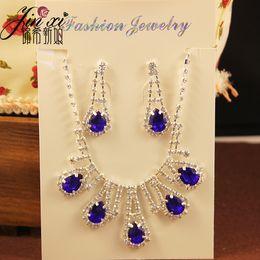 conjuntos de boda de cristal Rebajas En Stock Rhinestones baratos Partido Cristalino Dos Conjuntos Bling Accesorios de Boda Pelo Nupcial Regalo Collar de Diamantes Joyas Pendientes