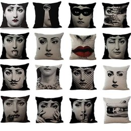 Wholesale Dobby Bedding - 16 Styles 45*45cm Black Fornasetti Maestro Pillow Case Cushion cover Linen Cotton Throw Pillowcases Sofa Bed Pillow Covers CCA8320 50pcs