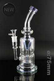 Wholesale Handle Rig - Heady glass bong stright tube Dia75 water pipe fashion design purple recycler glass oil rig percolator 18mm handle bowl weight 770g