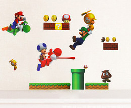 Wholesale Stockings For Kids - New Super Mario Bros PVC Removable Wall Sticker Home Decor For Kids Room Christmas Gifts free shipping in stock