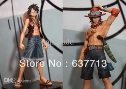 Wholesale One Piece Figure Ship - Wholesale-17cm Japan anime one piece Monkey.D.Luffy Portagas D Ace pvc figure set,free shipping toys gifts1set=2pcs