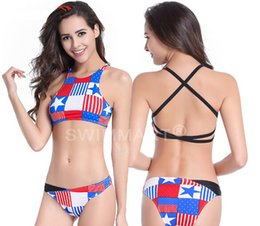Wholesale Chinese Bikinis - 2016 Europe and the United States export a bathing suit Chinese-style chest covering the back American flag bikini high-end fission swimsuit