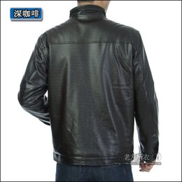 Wholesale Middle Age Mens Leather Jackets - Fall-Autumn and winter plus velvet padded winter clothing PU leather middle-aged men coat old leather jacket mens collar cocktail