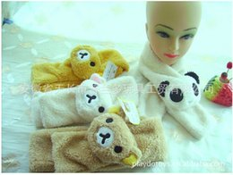 Wholesale Rilakkuma Scarf - Wholesale-5 sets FREE SHIPPING plush San-X Bear Rilakkuma HATS + GLOVES + SCARF+ EARMUFFS 3 for winter outdoor wearing clothes