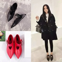 Wholesale Black Flat Mary Jane Shoes - best quality! U523 34 40 2 COLORS GENUINE LEATHER POINTY BELT FLATS shoes casual mary jane ce runway celeb fashion vogue black red slide