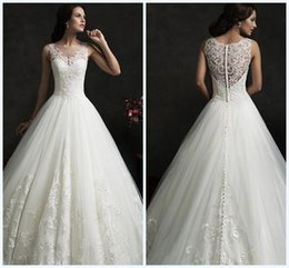 Wholesale Sheer Back Aline Wedding Dress - Sweep Long 2015 Wedding Dresses Aline Tulle Sheer Neck Sleeveless Hollow Back Lace Applique Piping Ball Gown Bridal Dress Vestido Gowns WWL