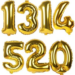 Wholesale Black Letter Balloons - 32 inch Gold Silver Number Foil Balloons Digit Party Balloons Happy Birthday Wedding Decoration Letter Balloon Helium