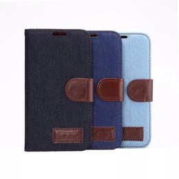 Wholesale Case Stand S4 - Denim Lines Jeans Stand Leather Case for Samsung Galaxy S4 S5 S6 G9200 for iPhone 4 5 6 Plus Flip Cowboy Wallet Holster Credit ID Card Slot