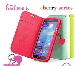 Wholesale Galaxy S4 S Iv - Cute Cherry Series Wallet Stand Flip Case For Samsung Galaxy S4 S IV I9500 Lovely Leather Holster Cover Phone Bags S 4