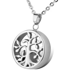 Wholesale Memorial Life - Lily Stainless Steel Life Tree Hope waterproof urn pendant Necklace Memorial Ash Keepsake Cremation Jewelry with gift bag and chain