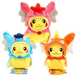 Wholesale Pokemon Charizard Plush - 9 Inch Poke Figures Plush Dolls Toys 25CM 7 Styles Children Pikachu Charizard Slowpoke Poke Ball Plush Dolls Toy Cloak Pikachu OTH676