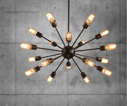 lampe suspension cage oiseau Promotion L67-12 / 18 Têtes Satellites Lustre Américain Retro Loft Industriel Salon Lampe Nordic De Fer Multi-tête Simple Araignée Pendentif, Drop Ship