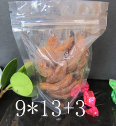 Wholesale Wholesale Free Dried Food - Free shipping 100PCS 9*13+3cm Clear Plastic zip lock packing Transparent PE packaging Dried fruits flowers bags stand up Snacks food pouch