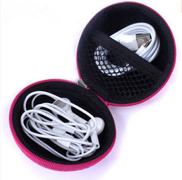 Wholesale Hard Case For Headphones - Portable Mini Round Hard Zipper Sport Earphone Cable Carrying Pouch Storage Case Bag for Earphone Headphone SD TF Cards Cable Cord Wire