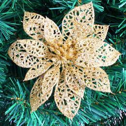 10pcs / lot 15cm or paillettes creuses fleurs de Noël artificielles Poinsettia décoration d'arbres de Noël ? partir de fabricateur