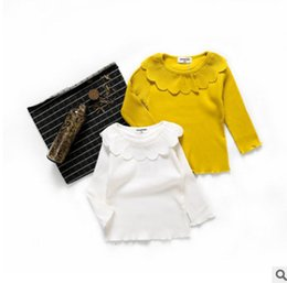 Wholesale Baby Long Sleeve Stripe Top - Baby girls bottoming shirt children ruffle petals collar princess tops toddler kids stripe long sleeve T-shirt baby cotton clothing R0969