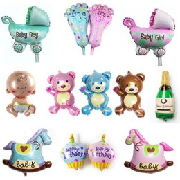 Wholesale Mix Foil Balloon - MIX STYLE Angel Baby girl and baby car foot Promotion Bear Horse Toy For Wedding Birthday Party Inflatable Foil Balloons small size