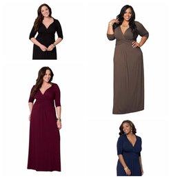 Wholesale Sexy Casual Dresses Plus Size - Plus size L XL XXL 3XL 2016 Spring women demure long maxi v-neck dresses bandage bodycon sexy casual dress Vestidos KF823