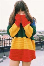 Wholesale Stripe Batwing - Hot Women Rainbow Crayola Sweater Loose Bat Wings Multi-Color Knitted Sweaters Pullovers Wide Stripes Knitwear Sweatshirt WY4007 5p