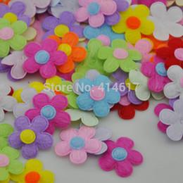 Wholesale Padded Flower Appliques - Wholesale- 50 pieces 1'' Padded Felt Flower Appliques (9 colors) A228