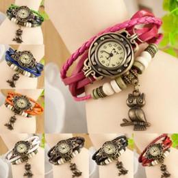Wholesale Ladies Charm Watches - New Popular Leather Bracelet Owl Decoration Movement Ladies Quartz Wrist Watch Bracelet